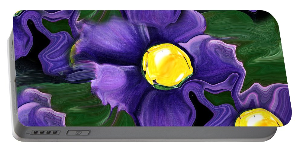 Liquid Violets Portable Battery Charger featuring the painting Liquid Violets by Barbara Griffin