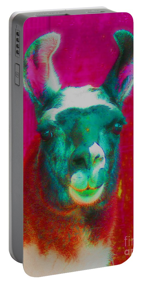 Llama Portable Battery Charger featuring the photograph Llama Of A Different Color by Smilin Eyes Treasures