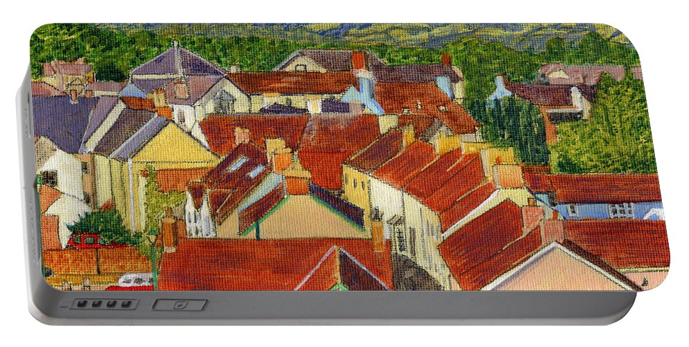 Painting Llandovery Roof Tops Portable Battery Charger featuring the painting Painting Llandovery Roof Tops by Edward McNaught-Davis