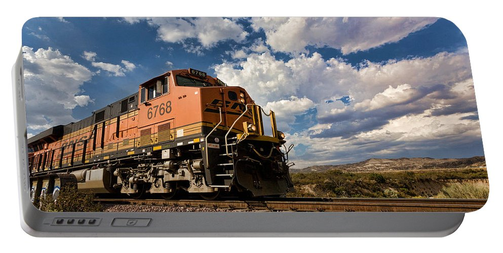 Train Portable Battery Charger featuring the photograph Loccomotive To The Sky by Peter Tellone
