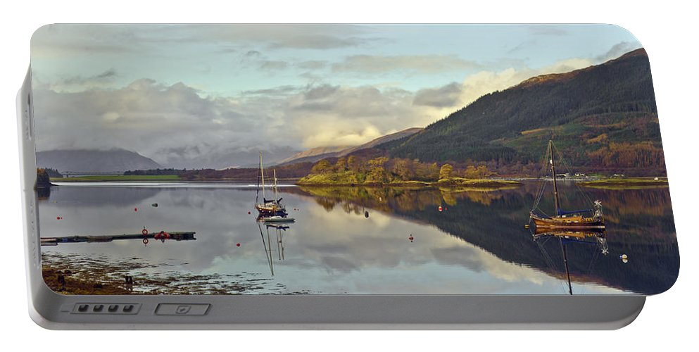 Ballachulish Portable Battery Charger featuring the photograph Loch Leven Moorings by Gary Eason