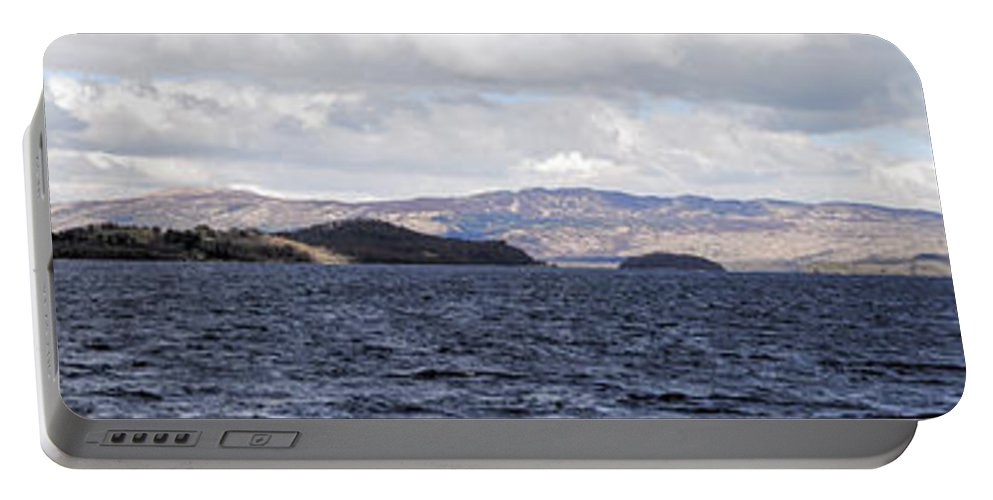 Scotland Portable Battery Charger featuring the photograph Loch Lomond - Pano1 by Nick Field