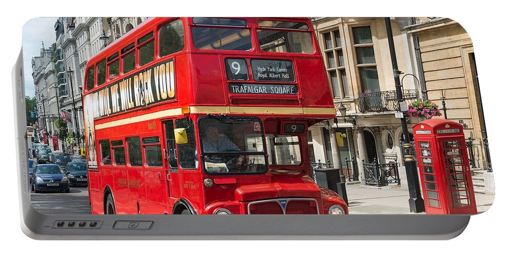 London Portable Battery Charger featuring the photograph London Red Bus by Andrew Michael