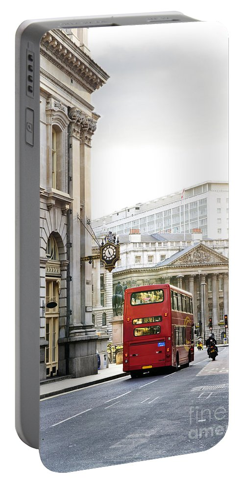 London Portable Battery Charger featuring the photograph London Street With View Of Royal Exchange Building by Elena Elisseeva