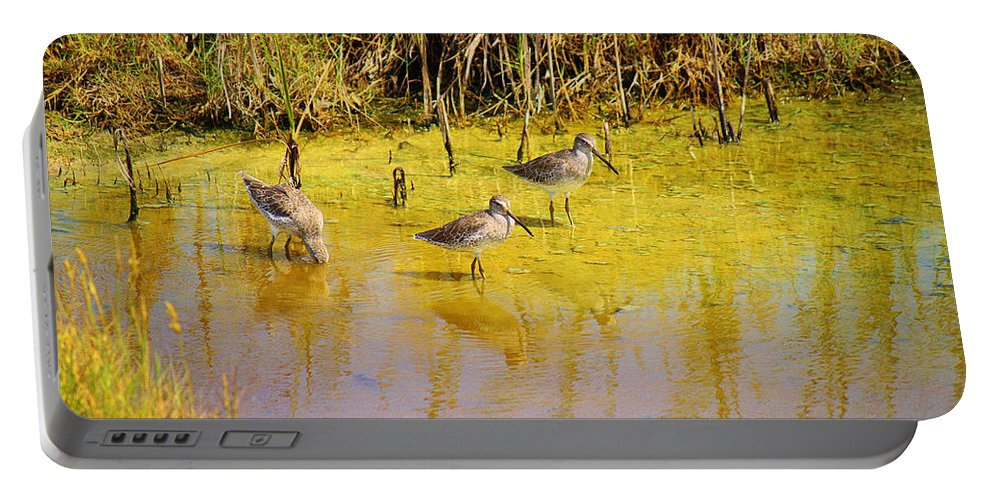 Roena King Portable Battery Charger featuring the photograph Long Billed Dowitchers Migrating by Roena King
