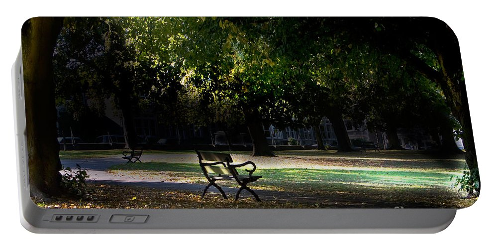 Bristol Portable Battery Charger featuring the photograph Lonley Park Bench by Brian Roscorla