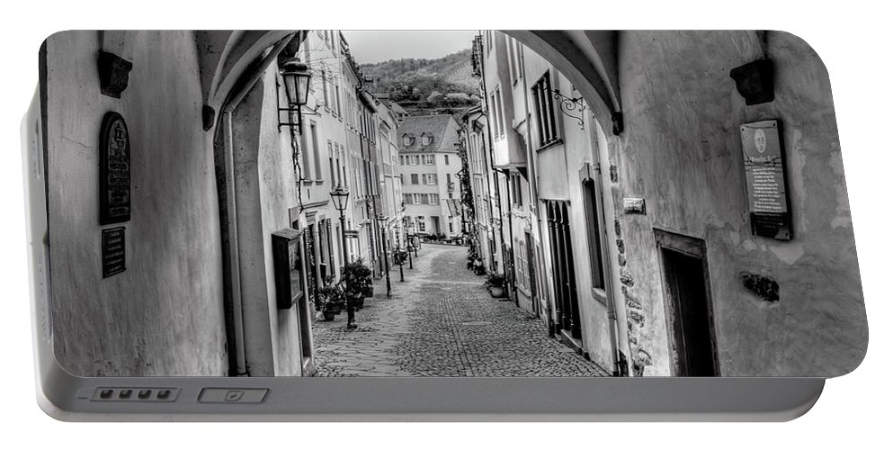 B&w Portable Battery Charger featuring the photograph Looking Through Graach Gate by Bill Lindsay