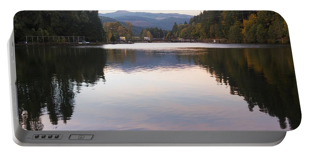 Art Portable Battery Charger featuring the photograph Looking Towards Leaburg Dam by Belinda Greb