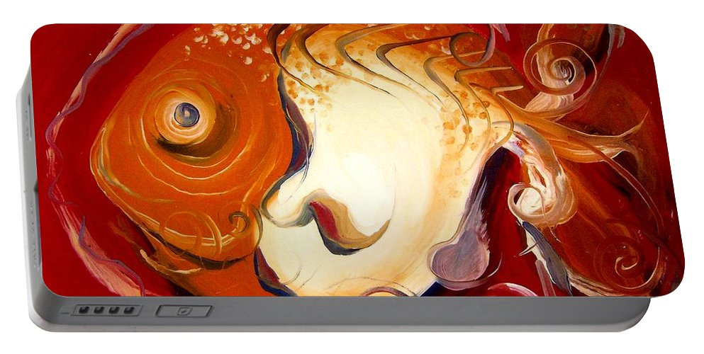Fish Portable Battery Charger featuring the painting Loose Goldfish by J Vincent Scarpace
