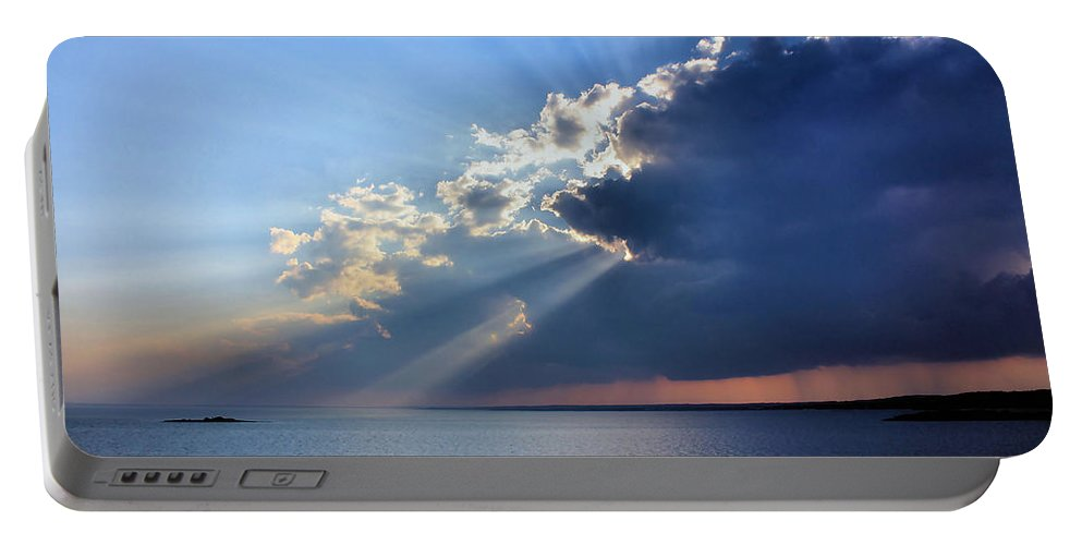 Clouds Portable Battery Charger featuring the photograph Lotta Rays by Kristin Elmquist