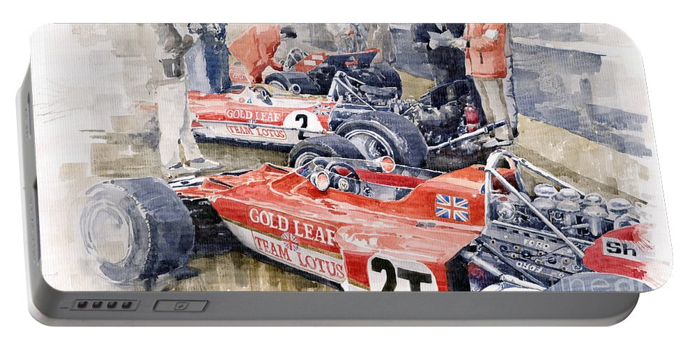 Watercolor Portable Battery Charger featuring the painting Lotus 49 B Lotus 72 by Yuriy Shevchuk