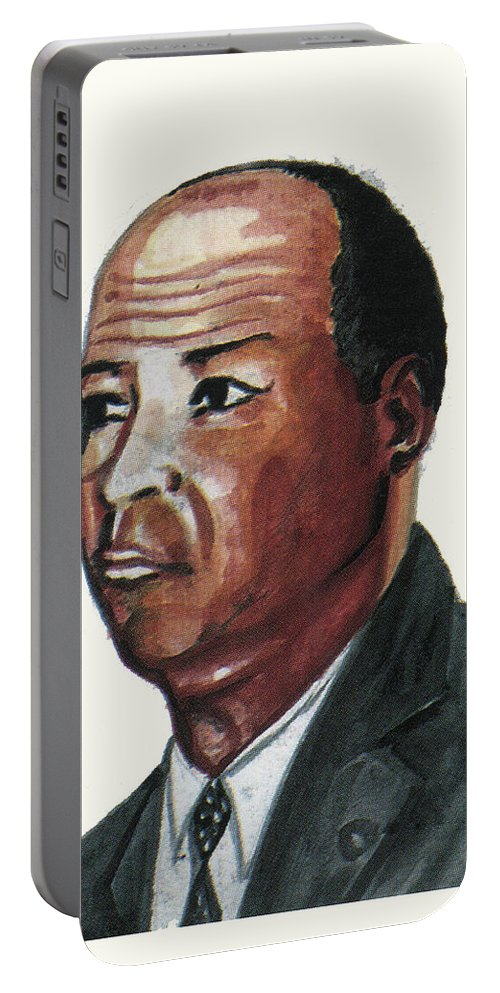 Portraits Portable Battery Charger featuring the painting Louis Tmpkins Wright by Emmanuel Baliyanga