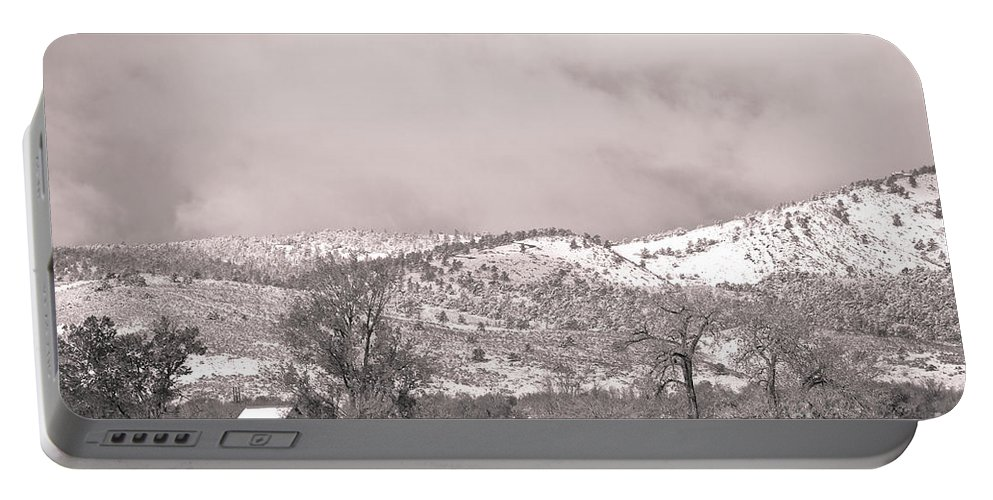 'low Clouds' Portable Battery Charger featuring the photograph Low Clouds On The Colorado Rocky Mountain Foothills 3 Bw by James BO Insogna
