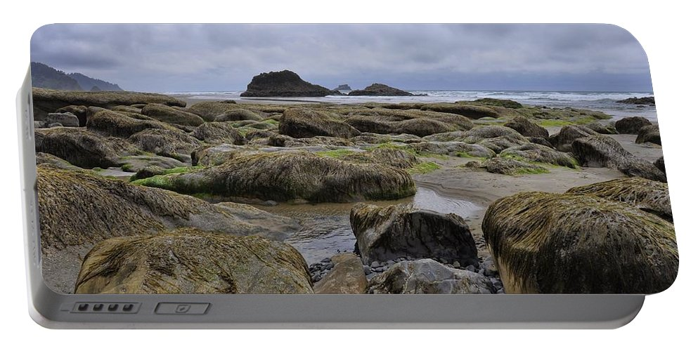 Ocean Portable Battery Charger featuring the photograph Low Tide by Rich Bodane