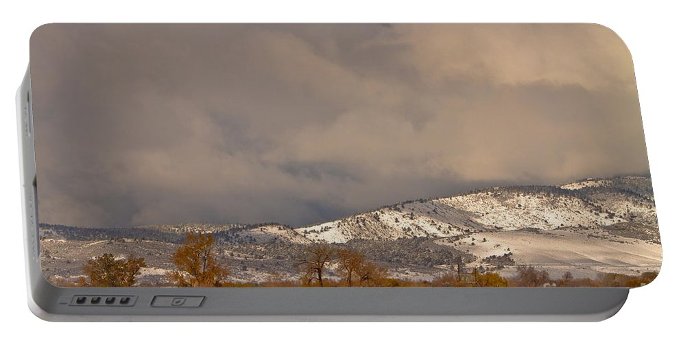 'low Clouds' Portable Battery Charger featuring the photograph Low Winter Storm Clouds Colorado Rocky Mountain Foothills 2 by James BO Insogna