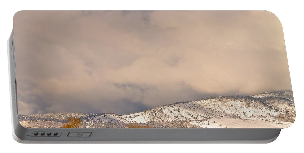 'low Clouds' Portable Battery Charger featuring the photograph Low Winter Storm Clouds Colorado Rocky Mountain Foothills 4 by James BO Insogna