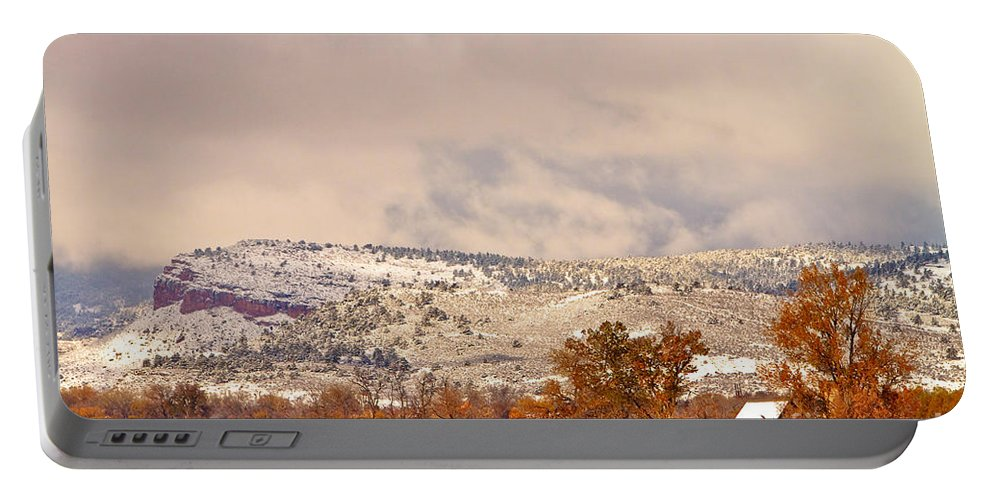'low Clouds' Portable Battery Charger featuring the photograph Low Winter Storm Clouds Colorado Rocky Mountain Foothills 6 by James BO Insogna