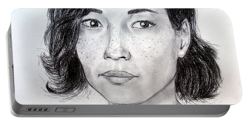 Drawing Portable Battery Charger featuring the drawing Lucy Liu Portrait by Jim Fitzpatrick