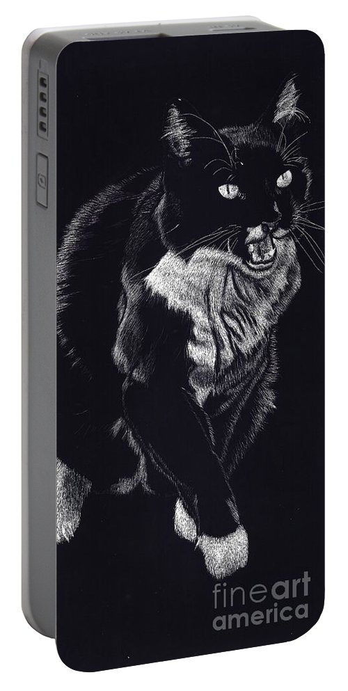 Cat Portable Battery Charger featuring the drawing Lucy The Cat by Yenni Harrison