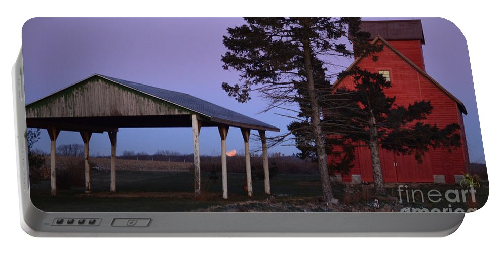 Color Photography Portable Battery Charger featuring the photograph Lunar Eclipse At The Farm by Sue Stefanowicz