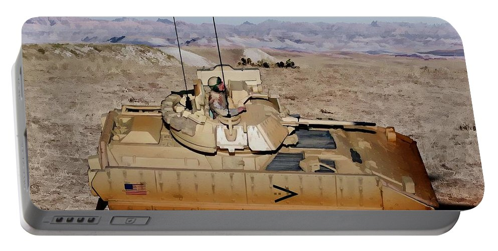 M2 Bradley Fighting Vehicle Portable Battery Charger featuring the digital art M2 Bradley Fighting Vehicle by Tommy Anderson