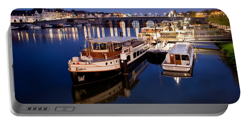 Boat Portable Battery Charger featuring the photograph Maastricht Jetty On Maas River by Marc Garrido