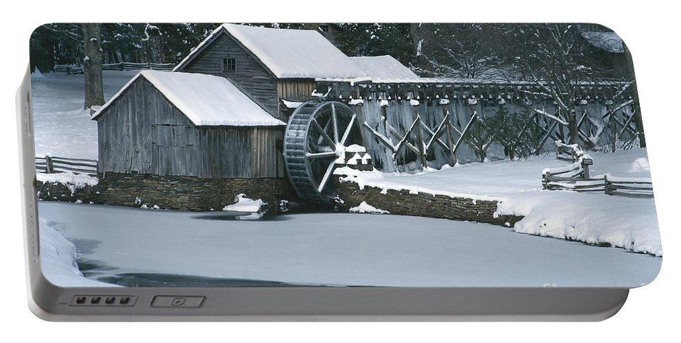 Mabry Mill Portable Battery Charger featuring the photograph Mabry Mill Winter by Joe Elliott