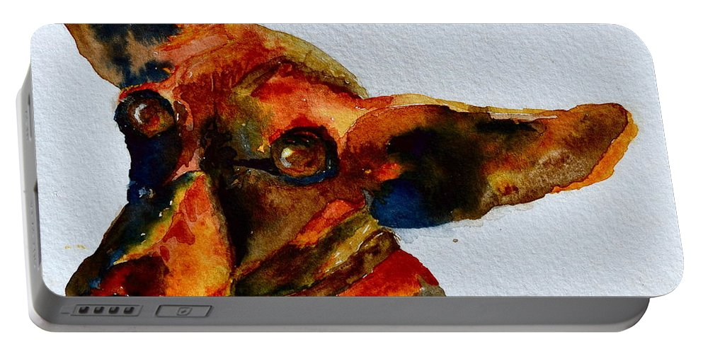 Dachshund Portable Battery Charger featuring the painting Macey by Beverley Harper Tinsley