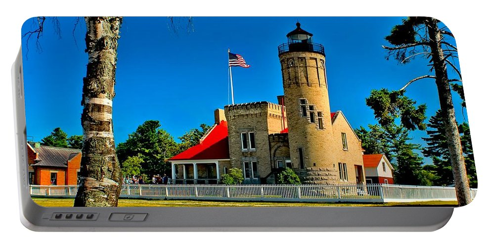 America Portable Battery Charger featuring the photograph Mackinac Point Light by Nick Zelinsky