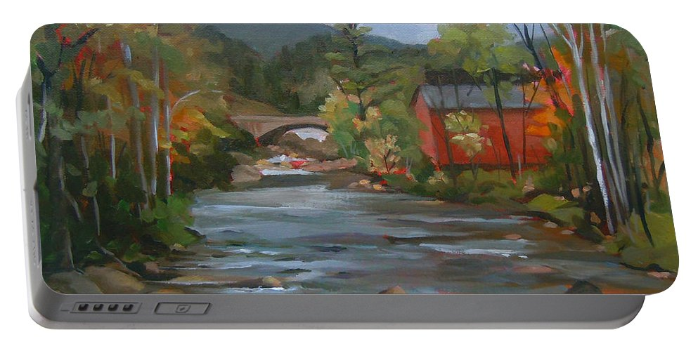 Landscape Portable Battery Charger featuring the painting Mad River And Campton Bridge by Nancy Griswold