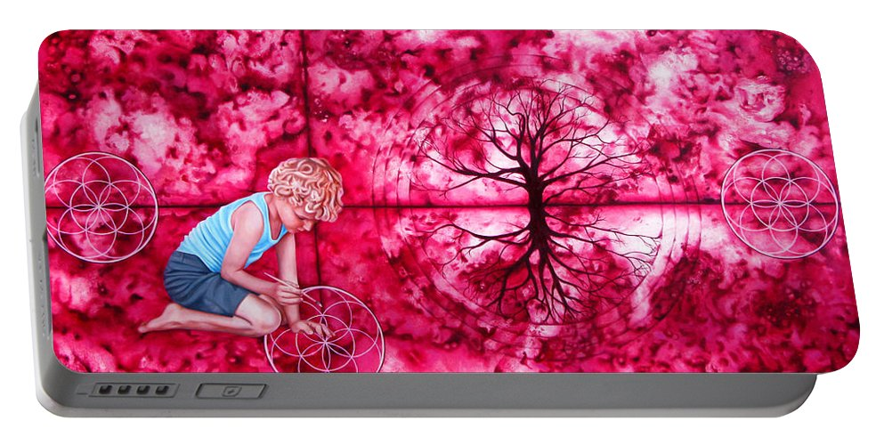 Magenta Portable Battery Charger featuring the painting Magenta by Pascal Roy