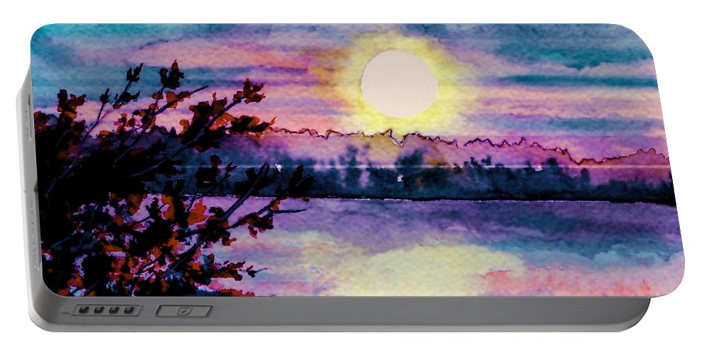 Watercolor Portable Battery Charger featuring the painting Maine October Sunset by Brenda Owen