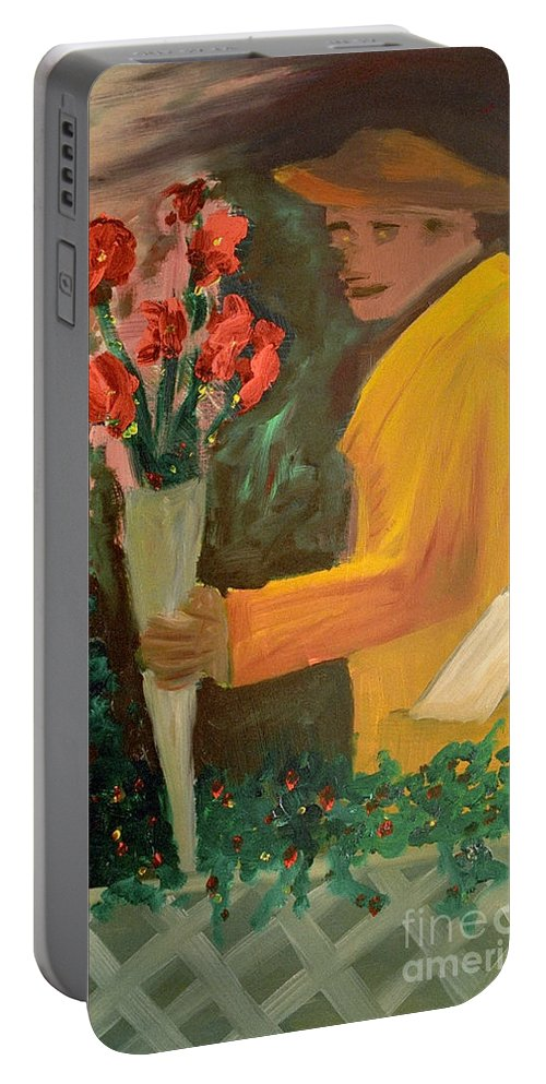 Man Portable Battery Charger featuring the painting Man With Flowers by Bruce Stanfield