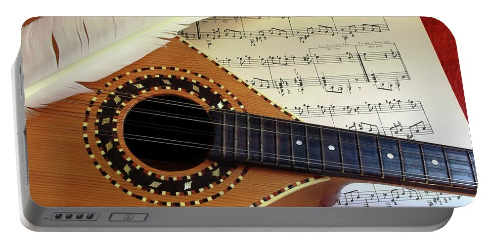 Aged Portable Battery Charger featuring the photograph Mandolin And Partiture by Carlos Caetano