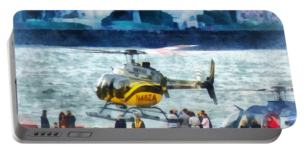 Helicopter Portable Battery Charger featuring the photograph Manhattan Heliport by Susan Savad