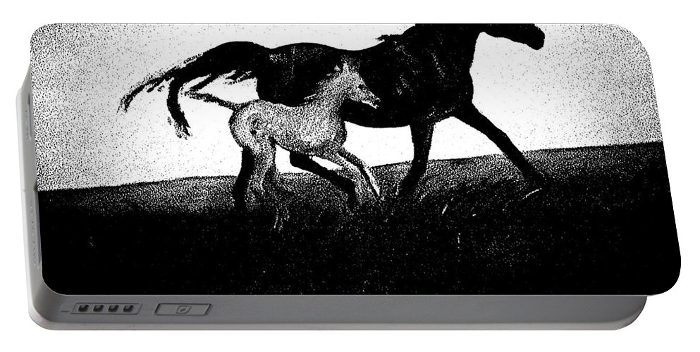 Horse.mare Portable Battery Charger featuring the digital art Mare And Foal by George Pedro