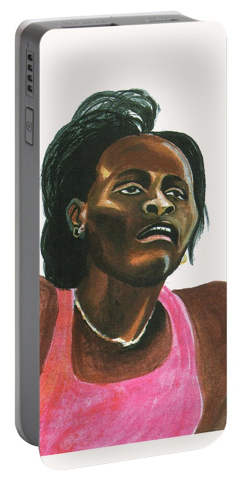 Portraits Portable Battery Charger featuring the painting Maria Mutola by Emmanuel Baliyanga