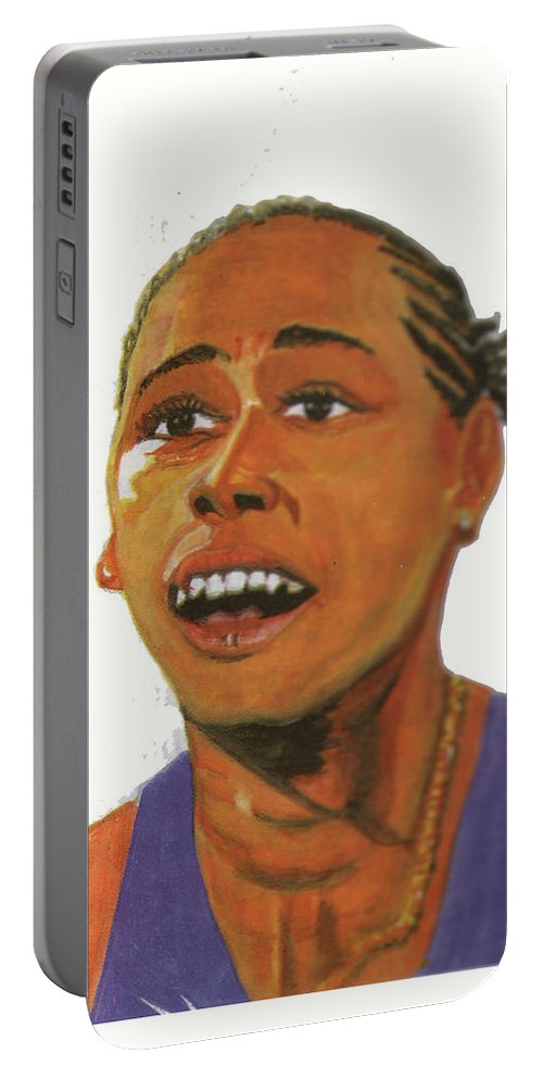 Portraits Portable Battery Charger featuring the painting Marion Jones by Emmanuel Baliyanga