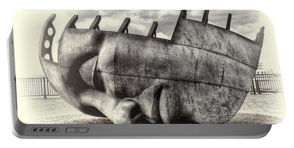 Maritime Memorial Portable Battery Charger featuring the photograph Maritime Memorial Cardiff Bay Opal by Steve Purnell