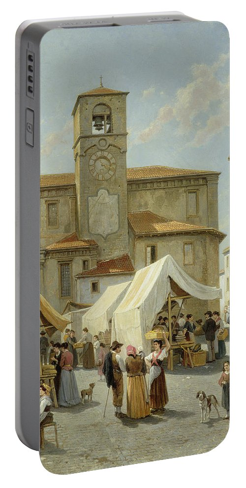 Marketday In Desanzano Portable Battery Charger featuring the painting Marketday In Desanzano by Jacques Carabain