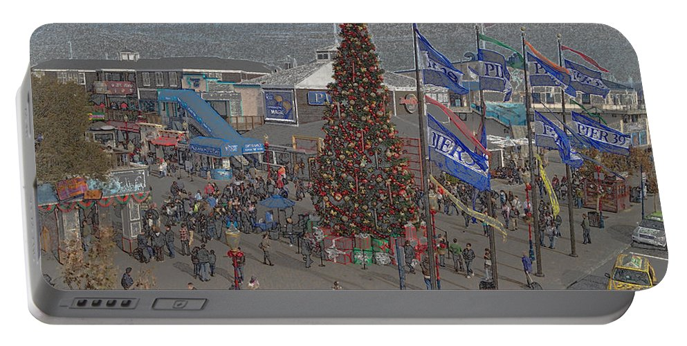 Pencil Effect Portable Battery Charger featuring the digital art Marketing Tree by Ron Bissett