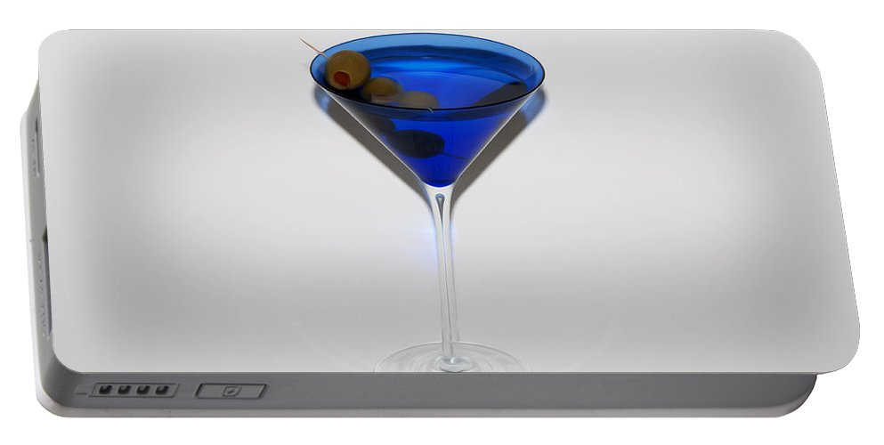 Cosmopolitan Portable Battery Charger featuring the photograph Martini Blue by Bill Cannon