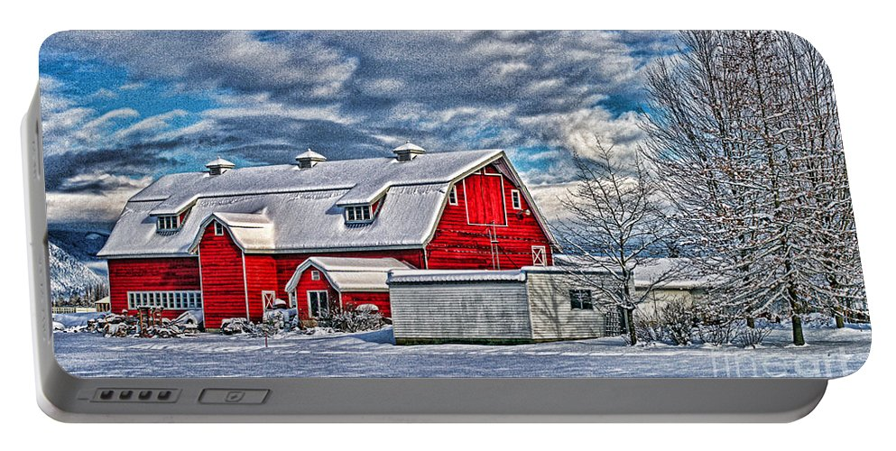 Old Barns Portable Battery Charger featuring the photograph Matsqui Barn Hdr by Randy Harris