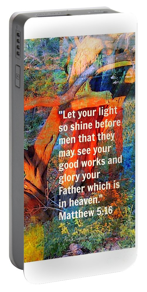 Fania Simon Portable Battery Charger featuring the mixed media Matthew 5 by Fania Simon