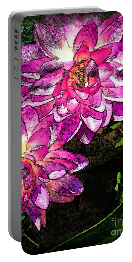 Botanical Portable Battery Charger featuring the photograph Maui Pink Garden by Joan Minchak