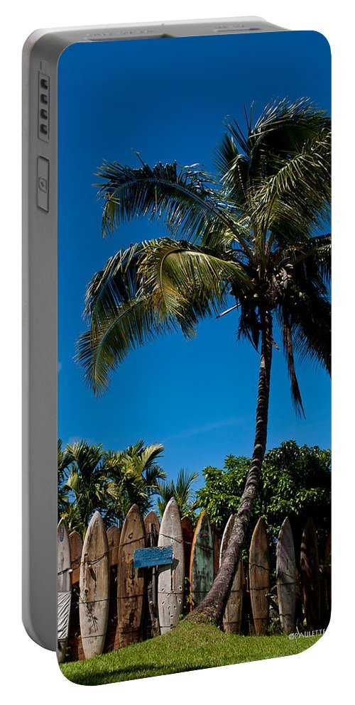 Nature Portable Battery Charger featuring the photograph Maui Surfboard Fence - Oldest Section by Paulette B Wright