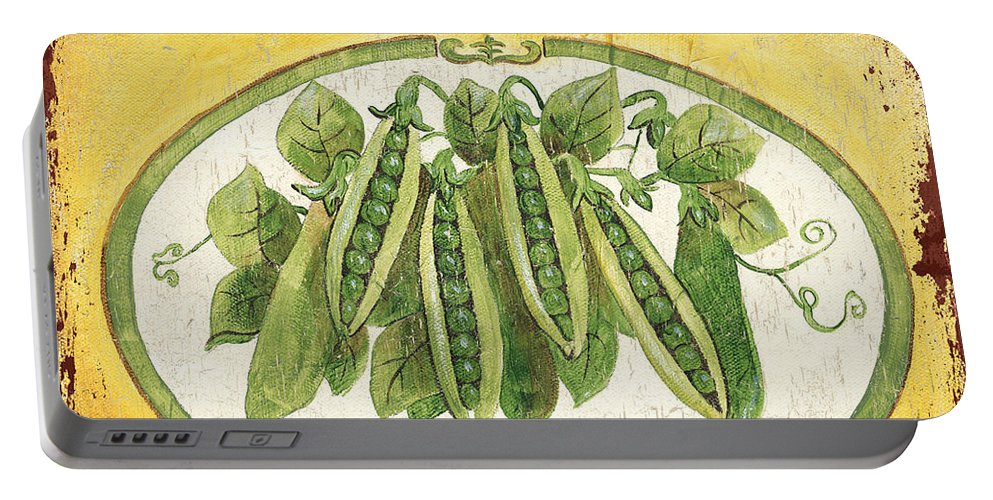 Kitchen Portable Battery Charger featuring the painting Mayan Peas by Debbie DeWitt