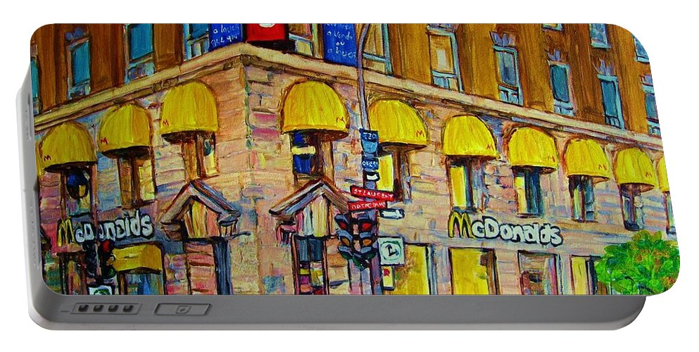 Mcdonald Restaurant Montreal Portable Battery Charger featuring the painting Mcdonald by Carole Spandau