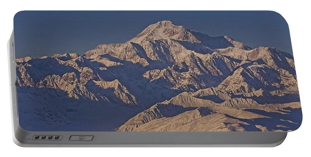 Alaska Portable Battery Charger featuring the photograph Mckinley Sunset In Panoramic by Darcy Michaelchuk