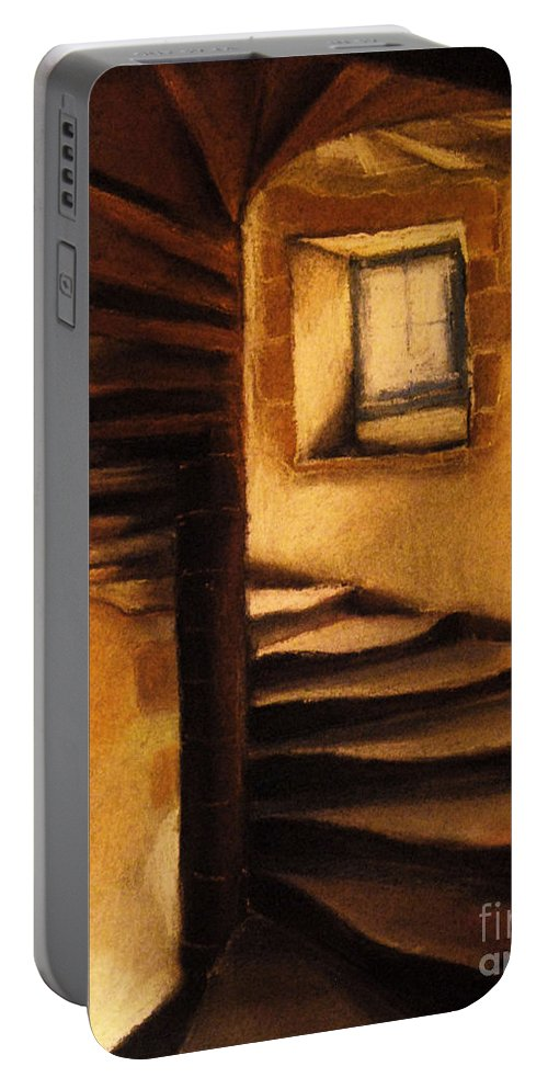 Medieval Tower Portable Battery Charger featuring the painting Medieval Tower by Mona Edulesco